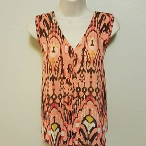 A.N.A tribal multi color sleeveless blouse